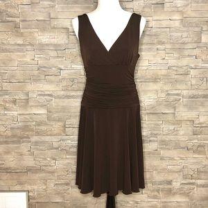 Connected Apparel brown v-neck dress